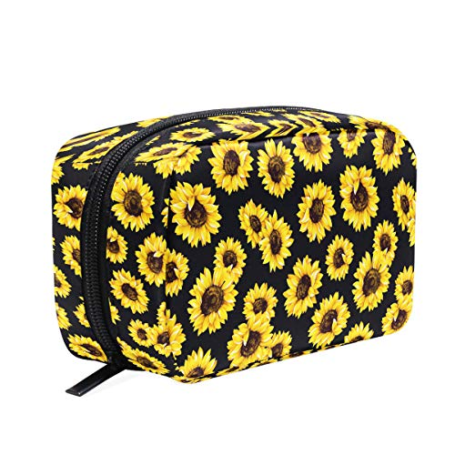 Sunflower Floral Makeup Bag Cosmetic Bag Toiletry Travel Bag Case for Women, Flower On Black Portable Organizer Storage Pouch Bags Box]()