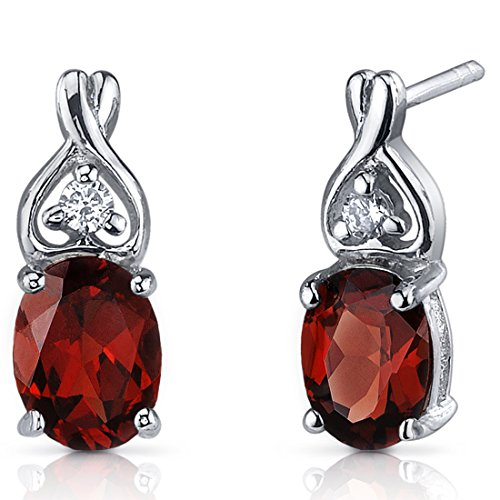 (Garnet Earrings Sterling Silver Oval Shape 3.00 Carats CZ Accent)
