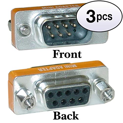GOWOS (3 Pack) Mini Null Modem Adapter, DB9 Male to DB9 Female