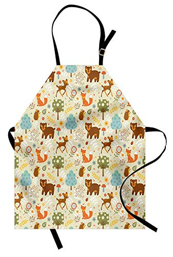 WAZZIT Woodland Apron Animals of The Woods in Pastel Colors Cheerful Bear Hedgehog Gazelle Fox Ladybug Kitchen Bib Apron Unisex with Neck Strap for Cooking Baking Barbecuing, Multicolor