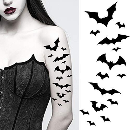 Bat Halloween Temporary Tattoos Paper Transfer Sticker Black Flying Vampire Bats Women Men Adults Kids