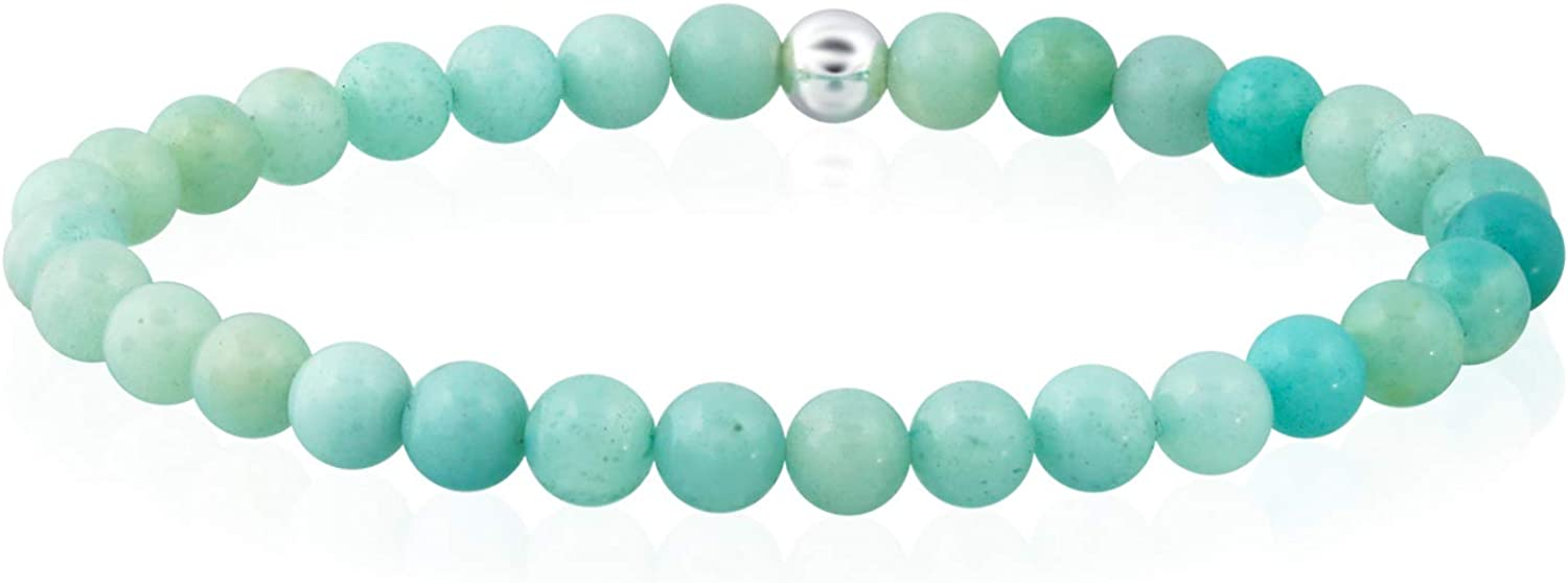 """Sea of Ice Precious Gemstone 6mm Round Beads with Sterling Silver Stretchy Beaded Bracelet 7.5"""" Unisex"""