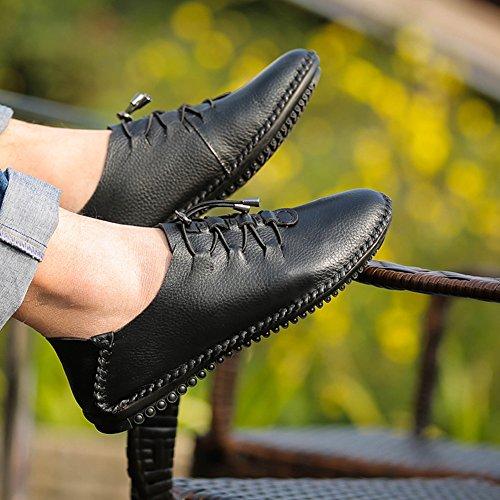 Slip SK Guida Scarpe Casuale Nero Loafers On Piatte Mocassini Eleganti nero di Traspirante da Uomo Pelle Studio Scarpe da Barca TrqxTwzg4