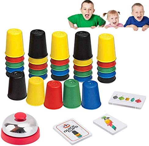 Quick Cups Games for Kids Intellectual Flying Stack CupStacking Cups Parent-Child Interactive Game24 Picture Cards 30 Cups