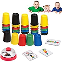 Quick Cups Games for Kids Intellectual Flying Stack Cup,Stacking Cups Parent-Child Interactive Game with 24 Picture Cards, 30 Cups