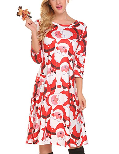 HOTOUCH Women's Santa Christmas Pattern A Line Flared Pleated Midi Dress (Xmas Red L)