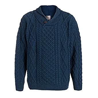 Boyne Valley Knitwear Mens One Button Shawl Wool Collar Cable Sweater (Atlantic Blue, Small)
