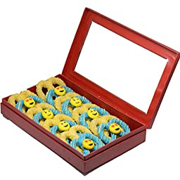 Emoji Faces Smiley White Chocolate Covered Pretzel Twist Blue and Yellow Variety Red box,16 count