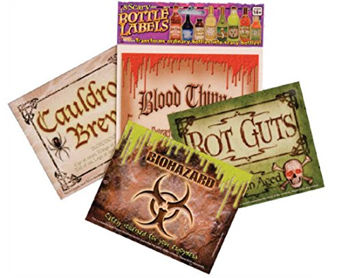 Forum Novelties, Scary Bottle Labels (8/Pkg) Prop Decoration One Size, Multicolor -