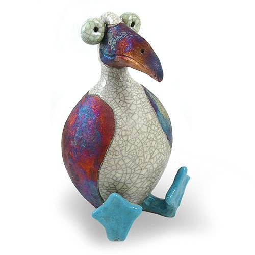 Modern Artisans Blue Footed Booby Bird Ceramic Raku Tabletop Sculpture