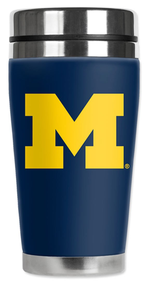 Mugzie Michigan Wolverines Travel Mug with Insulated Wetsuit Cover, 16 oz, Green