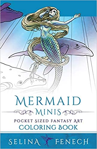 mermaid minis pocket sized fantasy art coloring book fantasy coloring by selina volume 13