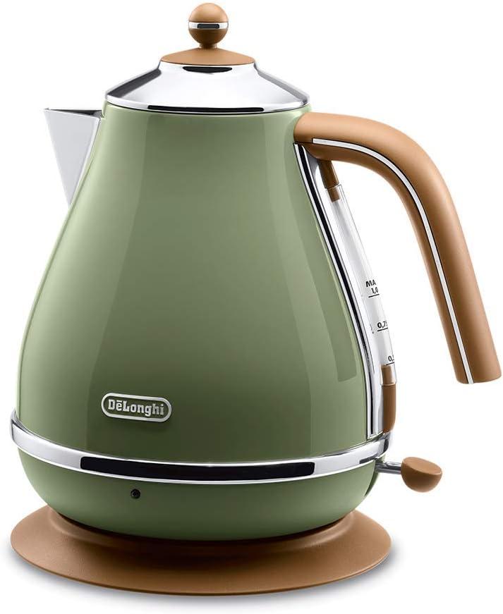 Delonghi Electric kettle (1.0L)「ICONA Vintage Collection」 KBOV1200J-GR (Olive green)【Japan Domestic genuine products】 (Renewed)