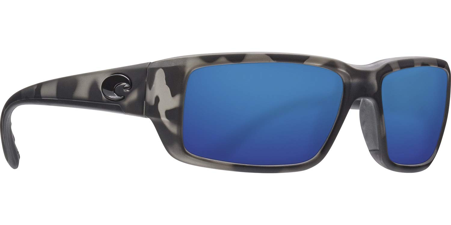 Costa Ocearch Fantail Sunglasses - Matte Tiger Shark frame - Blue Mirror 580G Glass Polarized Lens by Costa Del Mar