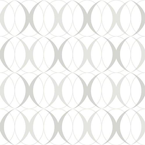 NuWallpaper NU1704 Light Silver Peel & Stick Circulate Peel and Stick Wallpaper, Gray