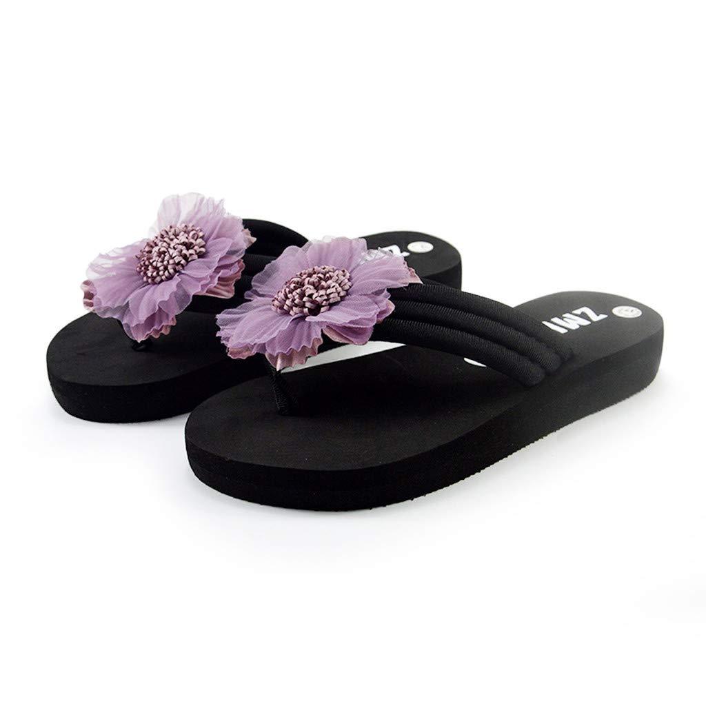 Garish Women's Casual Summer Handmade Flowers Letter Print Beach Shoes Sandals Flip Flops Slippers Purple