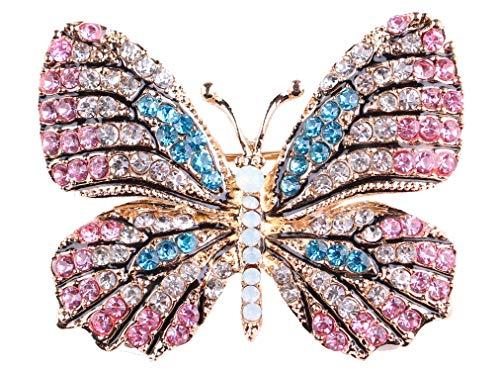 (Gyn&Joy Multi-Color Crystal Rhinestone Winged Butterfly Pin Brooch BZ030)