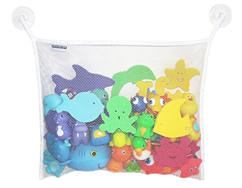 Toyganizer Bath Toy Organizer + 2 Bonus Strong Hooked Suction Cups, White