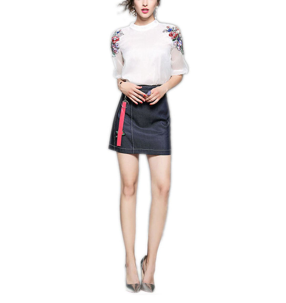 Weing New Women's Sexy Embroidery Blouse With Denim Skirts 2 Piece Dresses White XL by Weing