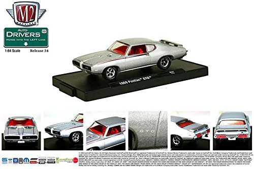 New 1:64 AUTO DRIVERS SERIES 34 ASSORTMENT - 1969 PONTIAC GTO Silver Diecast Model Car By M2 Machines
