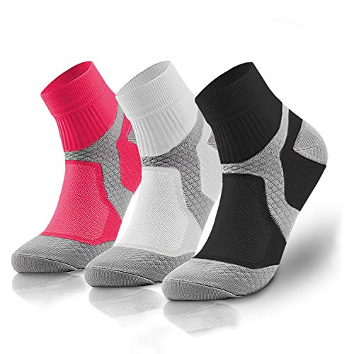 Compression Socks for Women and Men Sport Plantar Fasciitis Arch Support Low Cut Running Gym Compression Foot Socks/Foot Sleeves Best for Sports (3 Pairs,Small/Medium)