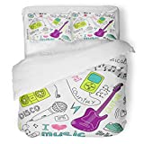 SanChic Duvet Cover Set Girl Music Doodles Girly Radio Love Cartoon Dance Decorative Bedding Set with Pillow Sham Twin Size