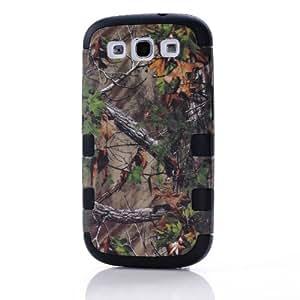 ERJFGE Triple Layer Brown Tree Camo Hybrid Impact Case Cover for Samsung Galaxy S3 III I9300(Black1)