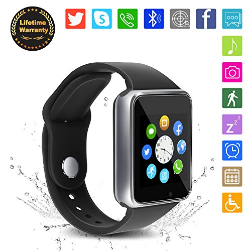 Bluetooth Smart Watch - WJPILIS Touch Screen Smartwatch Smart Wrist Watch Phone Fitness Tracker SIM TF Card Slot Camera Pedometer iOS iPhone Android Samsung LG Kids Women Men (Silver2)