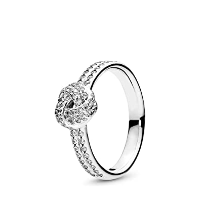 744c0b576 Amazon.com: PANDORA Sparkling Love Knot Ring, Sterling Silver, Clear Cubic  Zirconia, Size 5: Jewelry