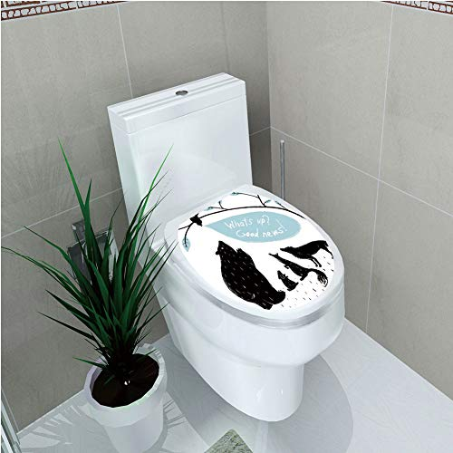 Toilet Cover Sticker,Quirky Decor,Forest Animals Meeting Bird Bringing Good News to His Friends,Light Blue Black White,Custom Sticker,W12.6