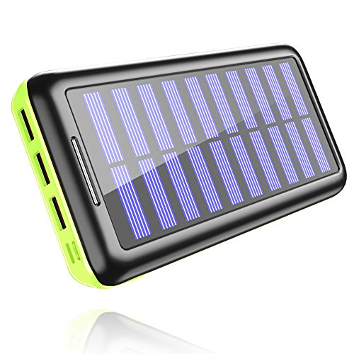 Power Bank Portable Solar Charger - 22000mAh with Dual Input & 3 USB Output Solar Charger, High-speed Charging Technology Battery Pack for iPhone, Samsung Galaxy and more (green) by Aikove