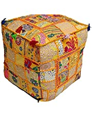Mooie Home Decor Poef Cover, Patchwork Poef Cover, Handgemaakte Poef Cover, Ottomaanse, Vierkante Poef Cover