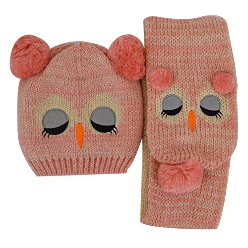 de punto ni Baby invierno Abby bufandas de Bonnet de New Owl Hat rosa para os U8FwXYq
