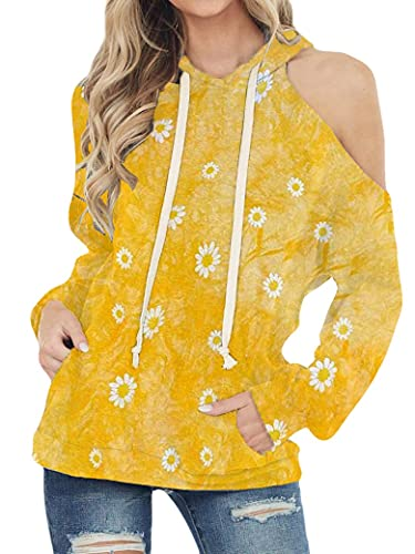PLNCAYFZ Women Daisy Print Fleece Lined Drawstring Hooded With Cold Shoulder Hoodie Top Yellow