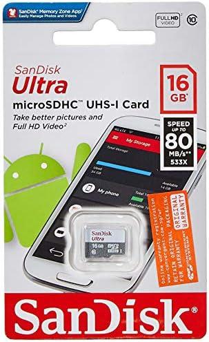 SanDisk Ultra Android Scheda di Memoria MicroSDHC da 16 GB, senza Adattatore, Velocità fino a 80 MB/s Classe 10