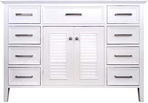 ARIEL Kensington D049S-BC-WHT 48 Inch White Base Cabinet with 2 Soft Closing Doors, 1 Decorative Faux Drawer and 8 Self Closing Drawers