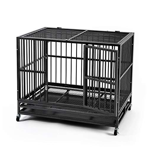 HYD-parts Large Dog Crate,42 inch Strong Steel Pet Kennel Dog Cage with - Hyd Floor