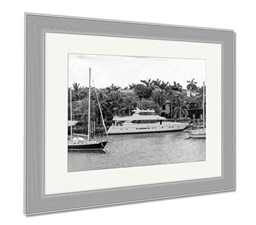 Ashley Framed Prints Fort Lauderdale Canals In Las Olas Boulevard Florida USA, Wall Art Home Decoration, Black/White, 34x40 (frame size), Silver Frame, - Florida Olas Boulevard Las