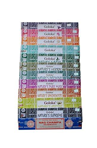 Goloka Set of 12 Nature's Lavender, Rose, Parijatha, Meditation, Basil, Herbal, Patchouli, Pure Musk, Sandalwood, Jasmine, Supreme And Satya Nag Champa Incense Sticks - Exotic Incense Sticks Pack