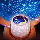 Star Night Lights for Kids with LED Timer, 360°Rotating Projector Night Lighting Lamps with Starry Moon Sky for Indoor Bedrooms, Best Gifts for Baby Bedroom, 5 Sets of Film