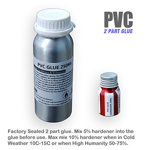 (SEAMAX Commercial Grade 2 Part Marine Adhesive for All PVC and Hypalon Inflatable Boats, Sealed in Aluminum Bottles for Long Term Storage (PVC 250ml 2 Part Glue, Glue Only))