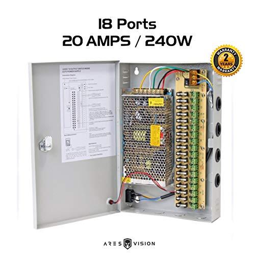Ares Vision CCTV/LED 12V DC Power Supply Box 20 AMP / 18 Port