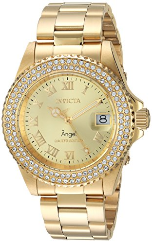 Invicta Women's Quartz Watch with Stainless-Steel Strap, Gold, 20 (Model: 24614)
