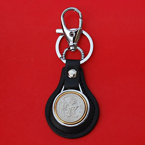 US 2018 Pictured Rocks National Lakeshore (Michigan) Quarter BU Uncirculated Coin Gold Silver Two Tone Leather Key Chain Ring NEW - America the Beautiful