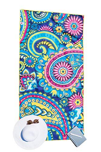 Bondi Safari Beach Towel for Travel - Microfiber, Quick Dry, Sand Free, Travel Beach Towel in Designer Paisley, Tropical & Boho Beach Towel Prints for Beach, Travel, Outdoor, Gift (Paisley, X-Large) -