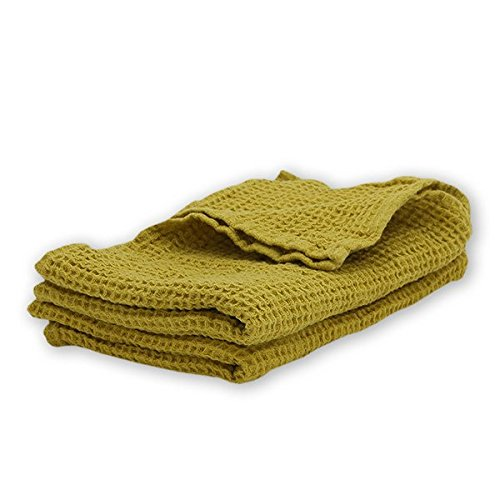 "LinenMe Washed Waffle Big Bath Towel, 20 x 28"", Citrine"