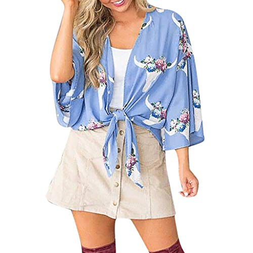 (Aunimeifly Stylish Ladies Cover-up Summer Wild Cardigan Flower Print Lace-up Kimono Chiffon Half-Sleeved Blouse Tops Blue)