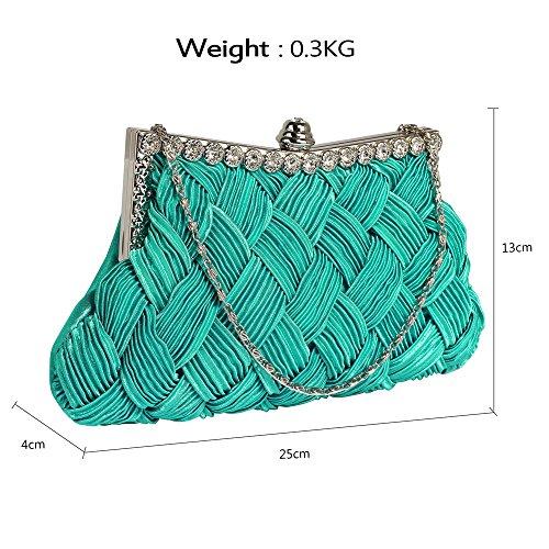 ANNA GRACE - Cartera de mano de Satén para mujer Design 1 - Emerald