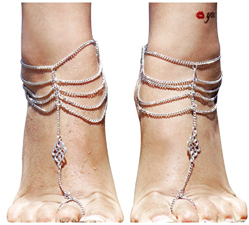 2Pcs Foot Jewelry Chain Barefoot Sandal Bracelet Anklet Bohemian Style Multi (Decent Halloween Costume Ideas)