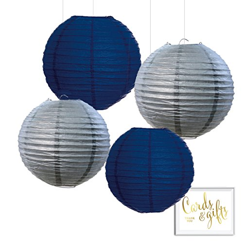 Andaz Press Hanging Paper Lantern Party Decor Trio Kit with Gold Party Sign, Navy Blue and Gray, 4-Pack, For Boy Teen Birthday Hanukkah Decorations